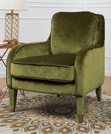 Green Ayala Velvet Accent Chair Zulily Velvet Accent Chair