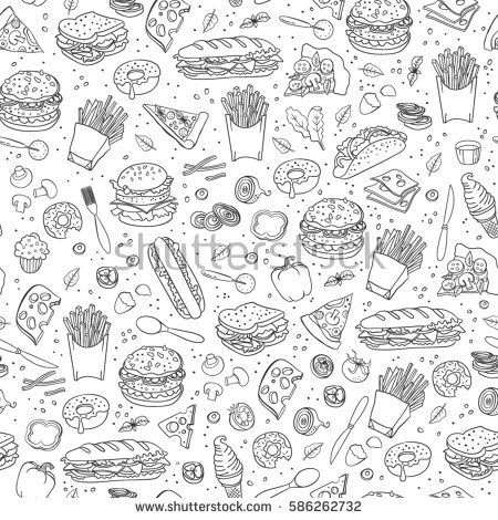 Fast Food Seamless Background Vector Fast Food Pattern Food