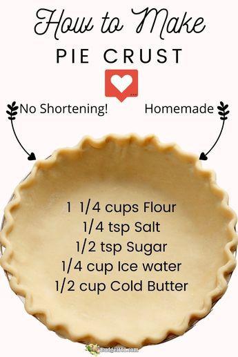 All Butter Pie Crust, Easy Pie Crust, Pie Crust Recipes, Homemade Pie Crusts, Recipe For Pie Dough, Single Pie Crust Recipe With Butter, Buttery Pie Crust Recipe, Tart Crust Recipe, Pie Pastry Recipe