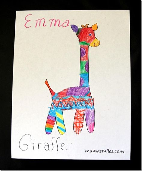 Fun giraffe coloring page for kids - and a cute, easy sewing project, also!