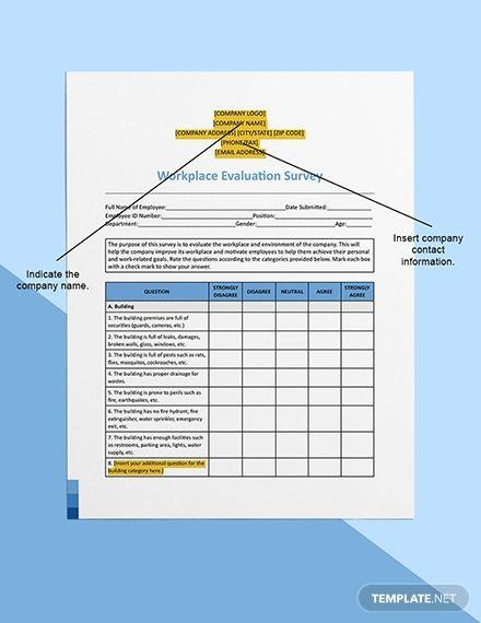 Workplace Evaluation Survey Template Word Doc Apple Mac Pages Google Docs Survey Template Survey Template Word Workplace