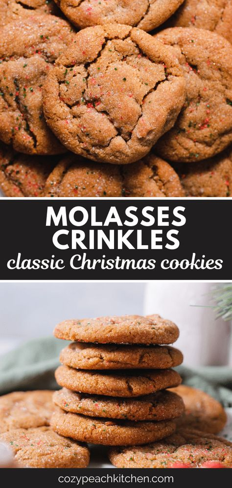 These old-fashioned molasses cookies are soft and chewy and full of cinnamon, cloves, and ginger. They're easy to make and perfect for Christmas time. #molassescookies #christmascookies #christmas #cookies #christmasbaking #christmasrecipes
