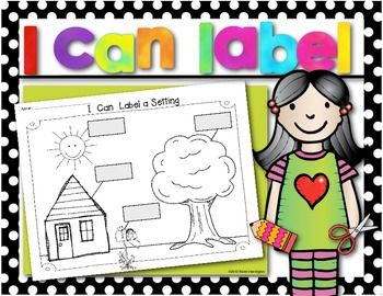 FREEBIE! Writing Workshop {I Can Label a Setting} Workpage. Perfect for Kindergarten and First Grade.