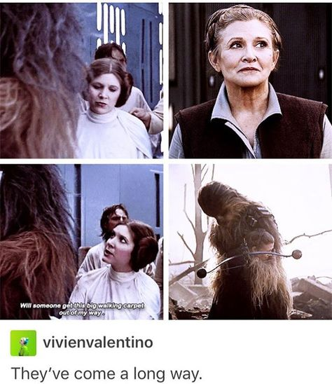Leia and Chewy Starwars, Carrie Fisher, Han And Leia, The Force Is Strong, Star Wars Humor, Love Stars, Long Time Ago, Princess Leia, The Villain