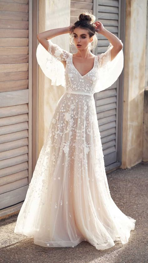 Flutter sleeve sheer wedding gown with beading and pearl detail   Amelie by Anna Campbell Wanderlust