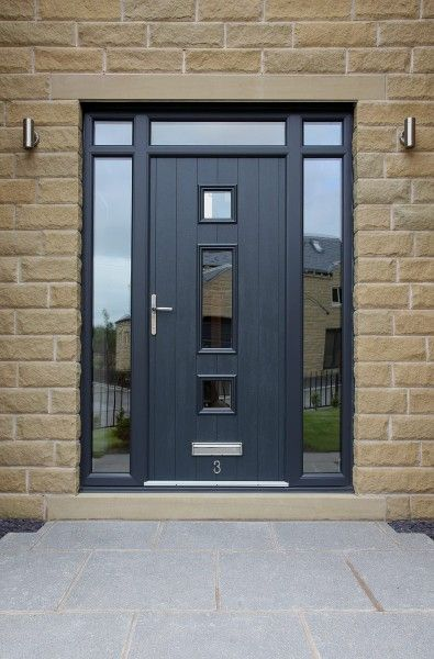 Genoa composite door with integrated top and side lights in Grey with etched glass design.