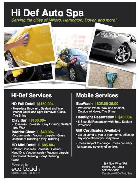 Hi Def Auto Spa Menu #PearlPartner #HiDefAutoSpa - visit us  Hi - auto detailing flyer template