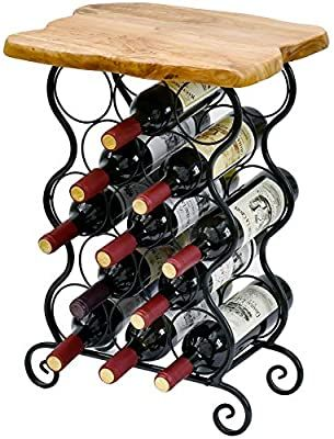 Amazon Com Welland 12 Bottle Wine Rack With Natural Edge Table Top Metal Wood Free Standing Floor Wine St In 2020 Natural Edge Table Wine Rack Storage Wine Storage
