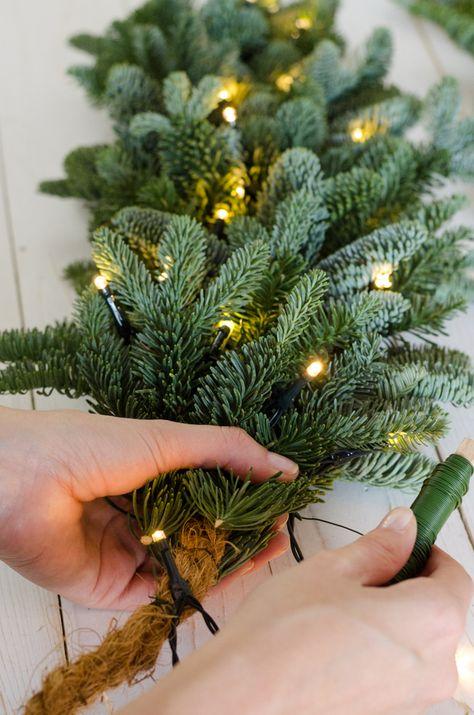 Christmas-Decorations Tannenzweig 35cm //// Tanne Spritzguss gr/ün Basteln Dekozweige k/ünstliche Tannenzweige
