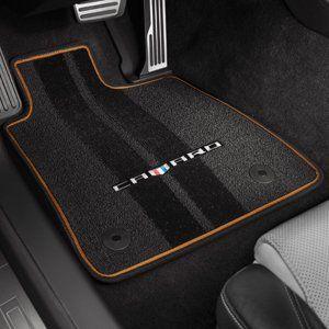2016 2019 Camaro Premium Floor Mats Camaro Logo And Mojave Binding Black Camaro Floor Mats Carpet Mat