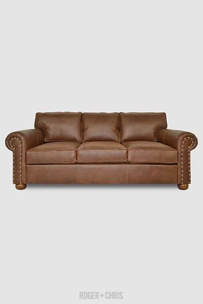 Brown Leather 3 Seat Sofa With Rolled Arm This Customizable Sofa