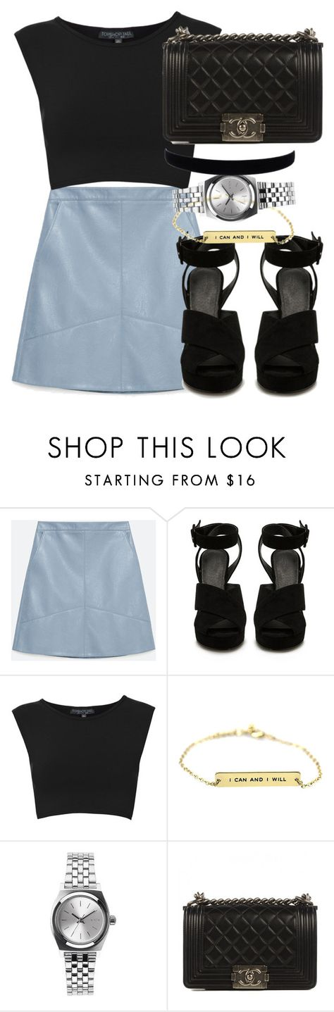 """Sin título #68"" by agus-765 ❤ liked on Polyvore featuring Zara, Topshop, Nixon and Chanel"