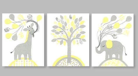 Art for children nursery print baby nursery decor Kids art yellow gray giraffe elephant balloons tree set of three prints 8 x 10 or 11 x 14 on Etsy, $38.00