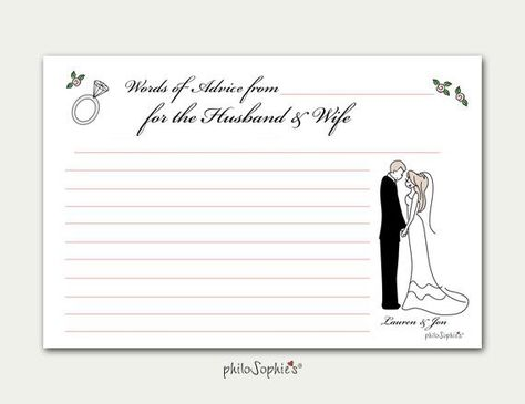 """Personalized Advice Cards, 4"""" x 6"""" cardstock, double sided print Personalize with unique details of couple, wedding colors, hair color and skin tone. add pet(s)additional lines on back of card to special message Proof will be sent for approval before printing."""