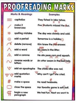 Free Proofreading Marks Handouts Teacher Created Resources