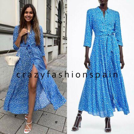 Chic Zara Woman Long Printed Dress Blue White Spotted Belt Shirt Style Maxi 3198 242 Womens Dresses From Top Stor Zara Maxi Dress Dresses Printed Long Dresses