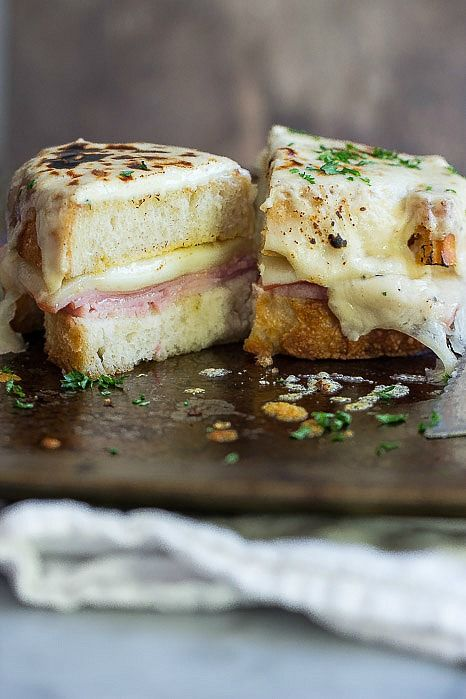 Melted Belgioioso cheese with ham and mustard.