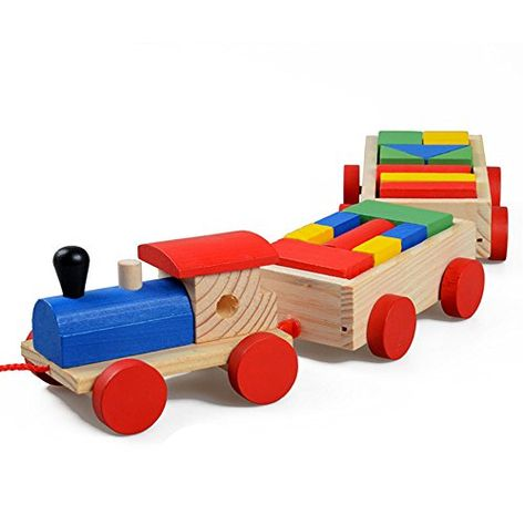 Baby Kids Developmental Toy Educational Toy Train Truck Wooden Geometric Blocks