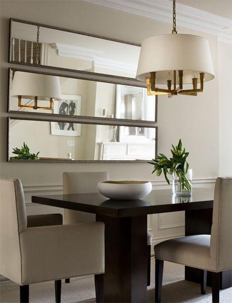 idées salle à manger moderne beige marron miroir mural déco