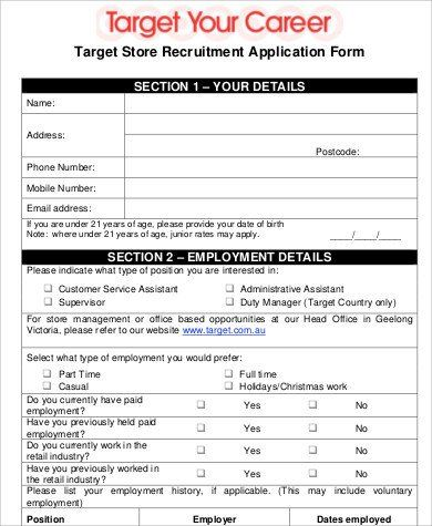 Retail Application Form Free 6 Sample Tar Job Application Templates In Ms Word Job Application Template Job Application Form Job Application