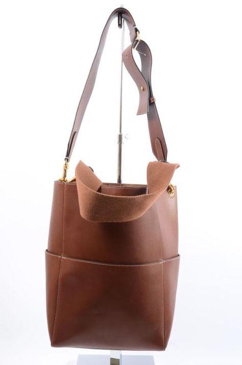 2596292c9d29 Celine Sangle chestnut brown leather bucket hobo shoulder handbag purse   2900