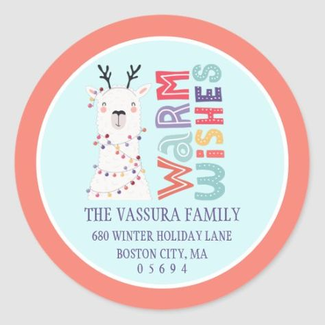 Cute Modern Christmas Llama Return Address Classic Round Sticker colleague gifts christmas, christmas traditions ideas, christmas snack #christmasgiftsets #art4small #resinobsession, back to school, aesthetic wallpaper, y2k fashion