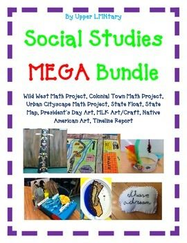 Social Studies MEGA Bundle with 15 Activities covering math, art, state history, timeline, writing, and geography. Includes: Geometry Wild West Town Geometry Colonial Town Geometry Cityscape State Float State Map President's Day Art/Crafts Martin Luther