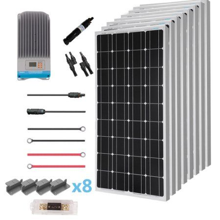 Renogy 800 Watt 12 Volt Solar Premium Kit W 8 Pcs 100w Solar Panel 60a Mppt Charge Controller Solar Cable Solar Fuse Mounting Z Brackets For Rv Boat Walmart Solar Panels Best Solar