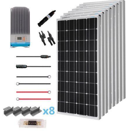 Renogy 800 Watt 12 Volt Solar Premium Kit W 8 Pcs 100w Solar Panel 60a Mppt Charge Controller Solar Cable Solar Fuse Mounting Z Brackets For Rv Boat Walmart Solar Panels Best Solar