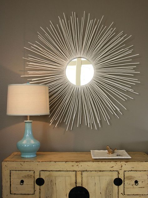 Sunburst-Mirror: Buy a cheap round mirror and hot glue dowel rods to back of mirror (spray paint rods any color you want)