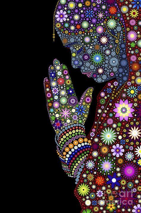 Flower Prayer Girl Digital Art