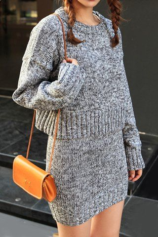 Stylish Jewel Neck Long Sleeves Cable Knit Sweater And Skirt Suits For Women Vestidos Tejidos Sueter Mujer Moda Para Mujer