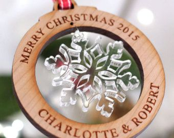 Personalised Merry Christmas Tree Decorations Snowflake Bauble Gift