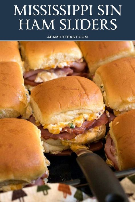 Mississippi Sin Ham Sliders – A Family Feast® Mississippi Sin Ham Sliders – A Family Feast®,Deliciousness Our delicious Mississippi Sin Ham Sliders are a delicious new variation on the addictively-good Mississippi Sin Dip with. Ham Sliders, Slider Sandwiches, Steak Sandwiches, Hawain Roll Sliders, Mississippi Sin Dip, Mississippi Chicken, Mississippi Pot Roast, Appetizer Recipes, Appetizers