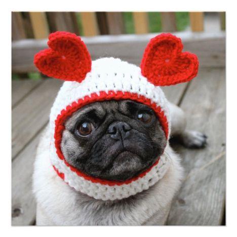 Pug Valentine S Day Card Zazzle Com Pug Valentine Cute Pugs