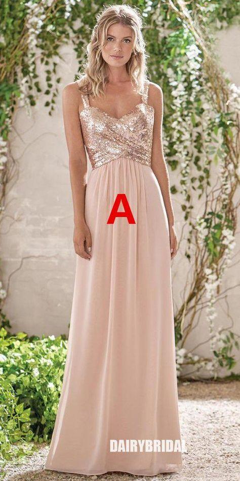 Mismatched Sequin Top Bridesmaid Dress, Chiffon Floor-Length Bridesmaid Dress #bridesmaiddresses #bridesmaiddress #bridesmaids #dressesformaidofhonor #weddingparty #2021bridesmaiddresses #2021wedding