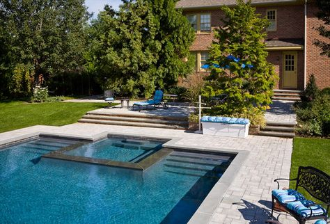 want a rectangular pool!! Hubby wants a hot tub. Great way to ...