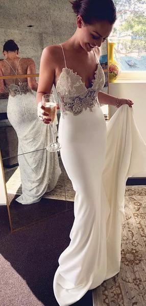 Spaghetti Strap Ivory Applique Mermaid Summer Wedding Dresses Ab1532 Trend 2019 Applique Ivory Mermaid Brautkleid Lassige Brautkleider Brautkleid Spitze