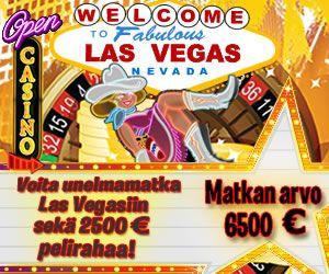 Voita matka Las Vegasiin! Palkinto pitää sisällään 2500 EUR pelirahaa, joilla voit kokeilla onneasi Vegasin kasinoissa.