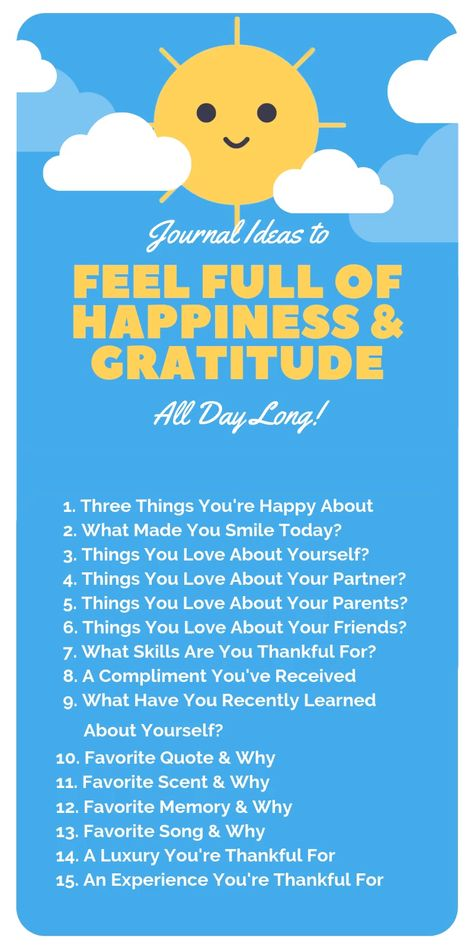 Use these 15 journal prompts any time you want to inject more sunshine into your day!   Click the post to learn more ways to increase you daily gratitude and happiness quickly and effectively.   #happiness #gratitude #positivity #howtobehappy #howtobehappywithyourself