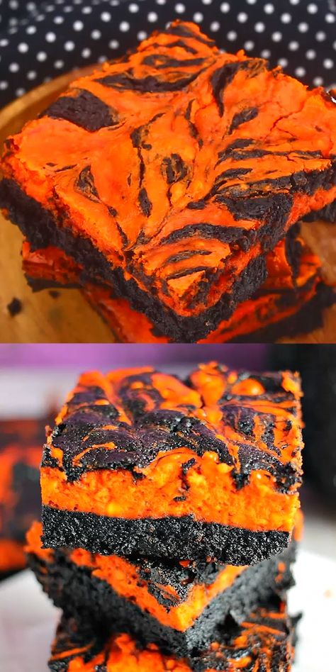 Halloween Swirl Cream Cheese Brownies have a layer of rich, dark chocolate brownie topped with a layer of orange cheesecake then swirled together for a spooky treat. These are sure to be a perfect dessert treat for everyone at your Halloween party! | www.persnicketyplates.com #brownies #halloween #cheesecake #dessert #chocolatecheesecake