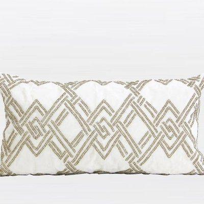 G Home Collection Handmade Textured Beaded Lumbar Pillow Beaded Pillow Blue Pillows Decorative Decorative Pillows