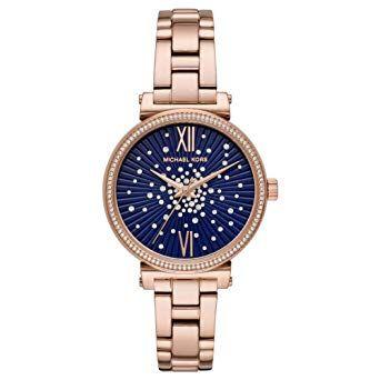 reloj michael kors esfera azul con brillantes