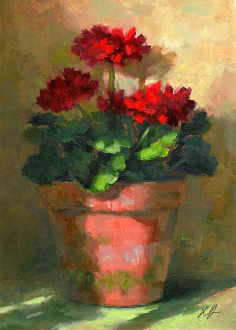Linda's Witness in Art: Geraniums in Light oil 5x7 Sold