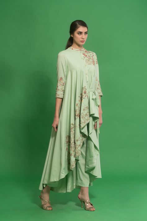 Green Embroidered Draped Kurta Set
