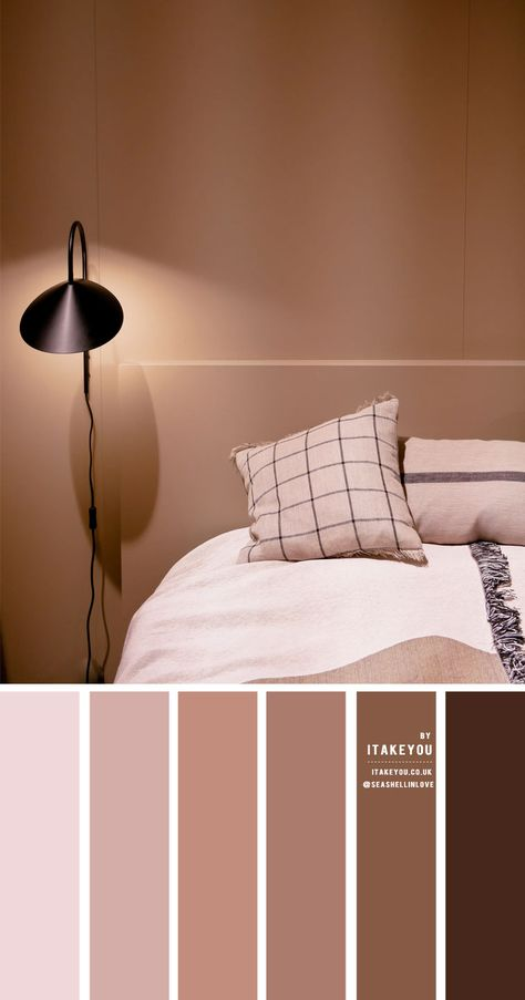 Earth Tone Color Scheme For Bedroom - - Beautiful warm toned color palette of earthy tones. The perfect choice colour palette for bedroom. This earthy warm toned color palette including : blush + latte + mauve + brown chocolate. Bedroom Colour Schemes Neutral, Bedroom Colour Palette, Brown Color Schemes, Colour Combination For Bedroom, Color Schemes For Bedrooms, Brown Colour Palette, Bathroom Color Schemes Brown, Home Color Schemes, Brown Bedroom Colors