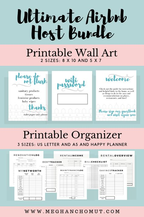 AirBnB Organizer + Wall Art, AirBnB Host Planner, Business Planner, AirBnB Printable, Property Management, Printable, AirBnB Welcome, Rental