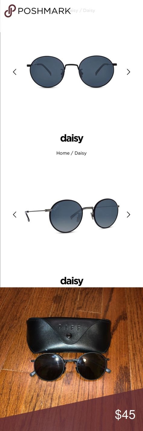 b6630342f33 DIFF Daisy black circle sunglasses DIFF matte black and grey polarized lens- daisy design. New- only worn 1-2 times and no visible scratches damage to  ...