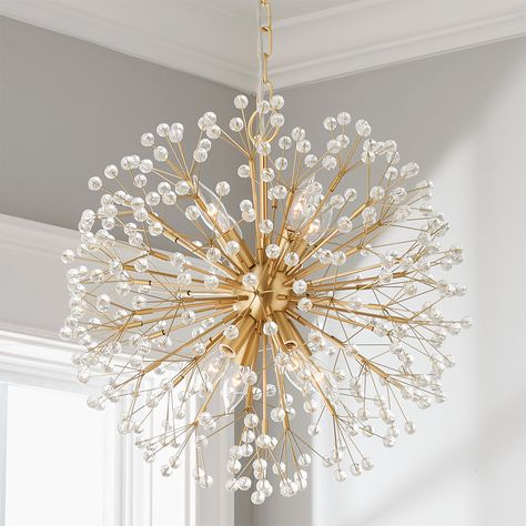 This sparkling chandelier merges glamour and whimsy with crystal bedazzled stems branching into a glittering globe reminiscent of evanescent dandelion seed heads, iridescent snowflakes, and twinkling stars all at once. Closet Chandelier, Bathroom Chandelier, Chandelier In Living Room, Chandelier Shades, Pendant Chandelier, Modern Chandelier, Crystal Chandeliers, Bubble Chandelier, Entry Chandelier