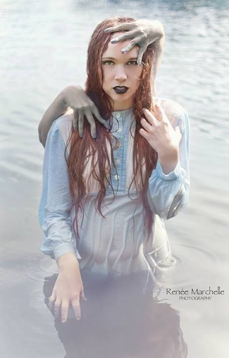 Creative model pose idea for creepy halloween conceptual photo shoot  Scary  makeup  halloween picture idea  lake  From the series   31 Days    Nat. Creative model pose idea for creepy halloween conceptual photo